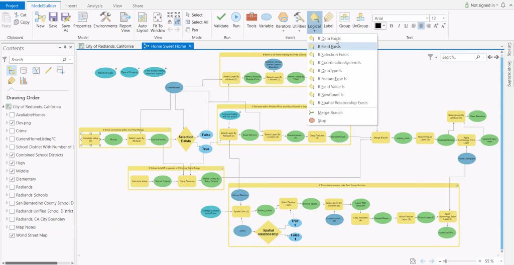 If-then-else branching logic tools in ModelBuilder