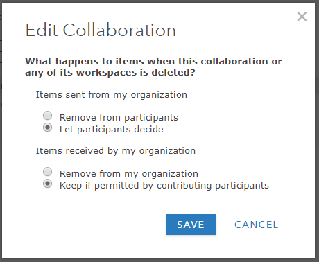 Dialog box for collaboration's content deletion policy