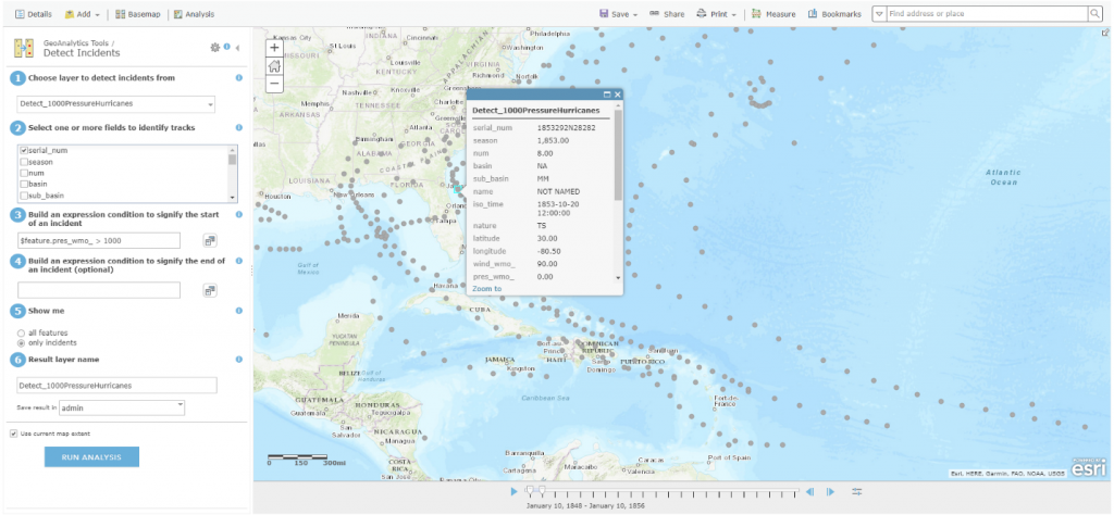 The Detect Incidents tool in ArcGIS GeoAnalytics Server