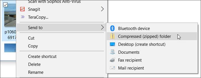 Sent to compressed folder
