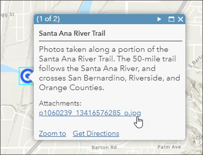 Pop-up showing photo attachment