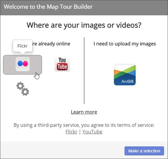 Flickr option in Map Tour builder