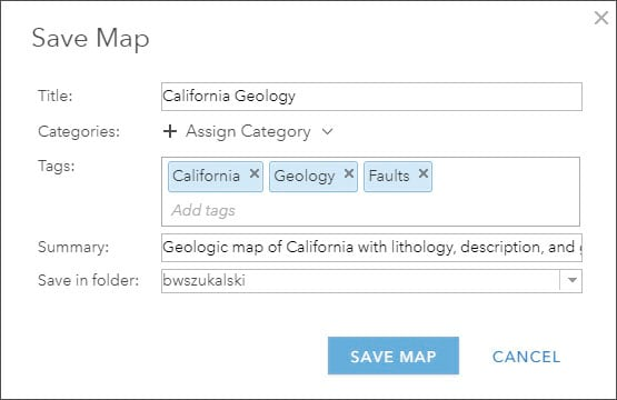 Save Map dialog with tags