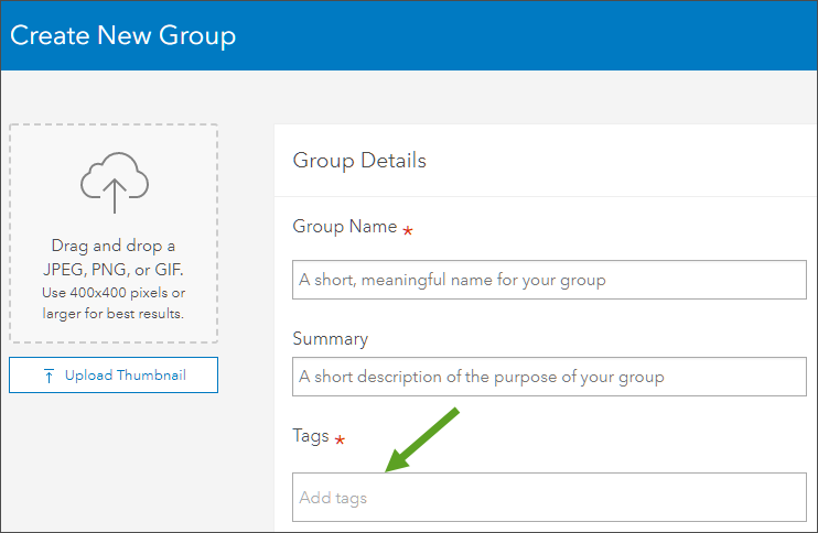 Create group tag input