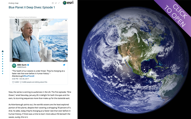 A screen shot from the opening section of the first Blue Planet II story map