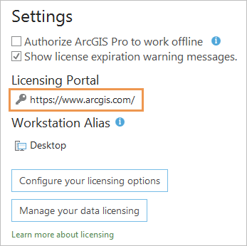 Settings area of the ArcGIS Pro Licensing page