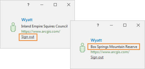 ArcGIS Pro sign-in status