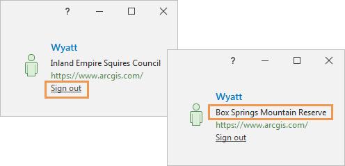 ArcGIS Pro sign-in status