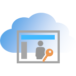Illustration of software license key stored in the cloud