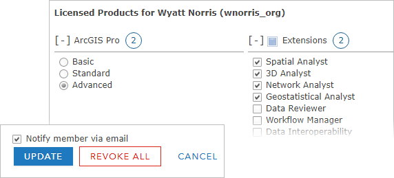 ArcGIS Pro license settings for an ArcGIS Online member