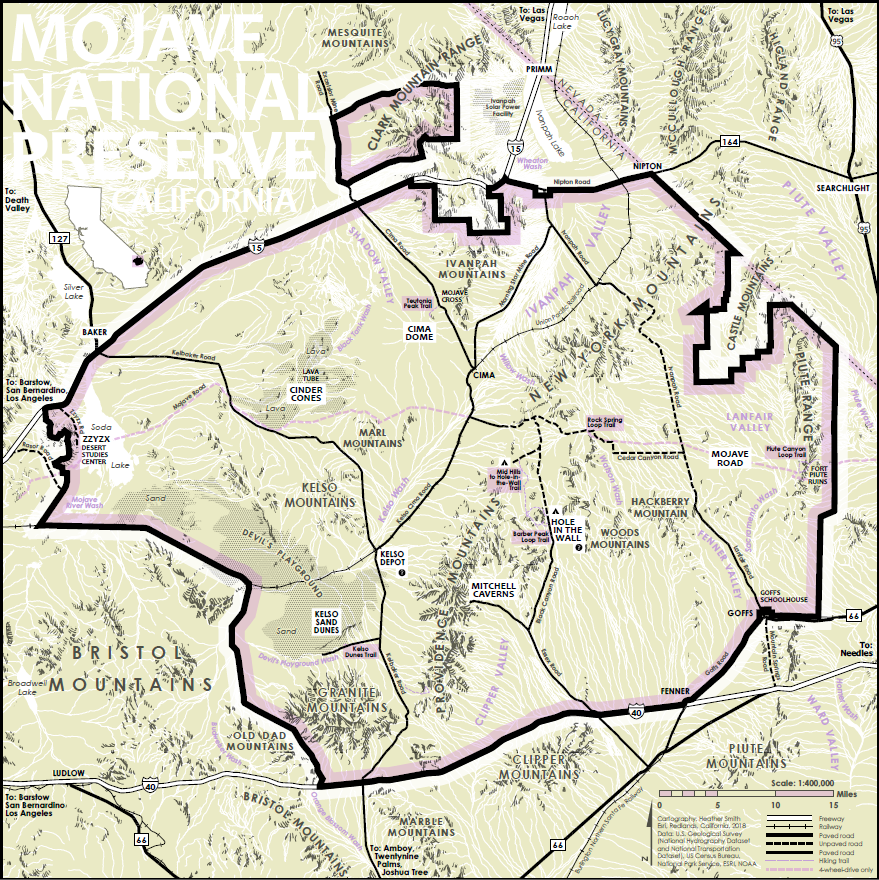 Finished map of the Mojave National Preserve