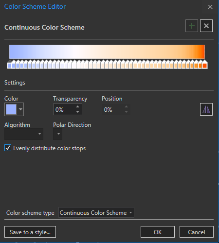 picture of the color scheme editor in ArcGIS Pro