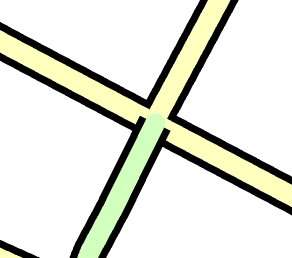 road segments shown overlapping at an intersection