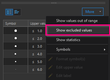 picture of the show excluded values option on the symbology pane