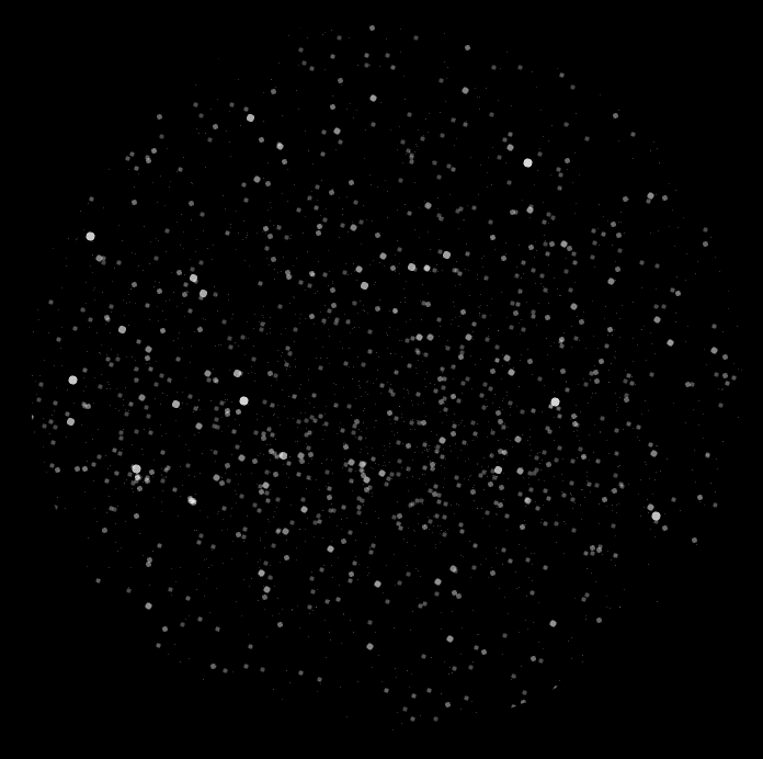 map of the stars using both graduated symbols and transparency by attribute