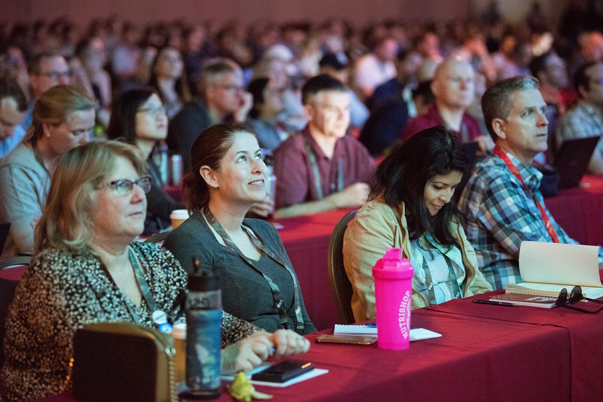 Audience members watch the Dev Summit keynote