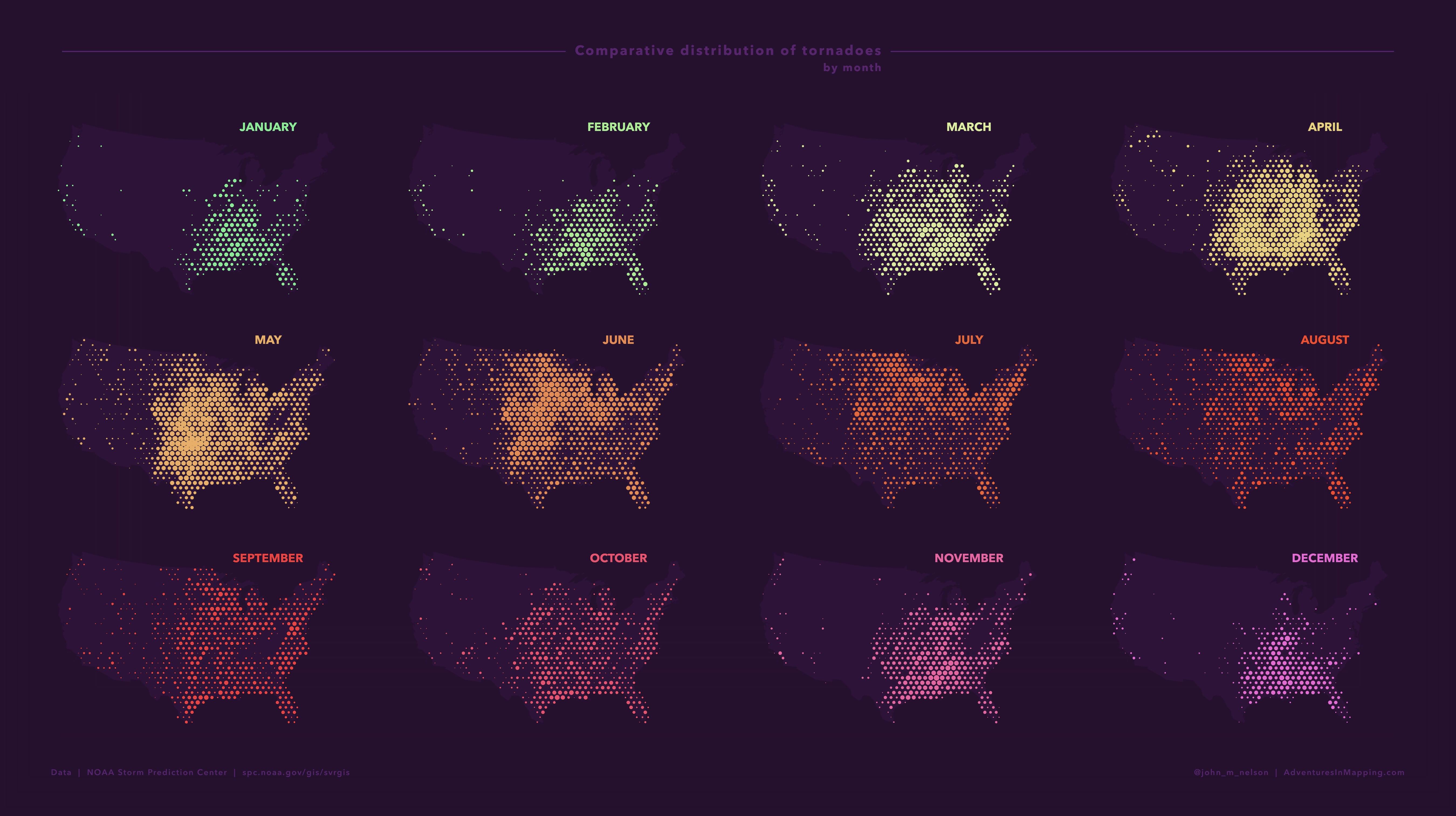 Maps of tornado migration