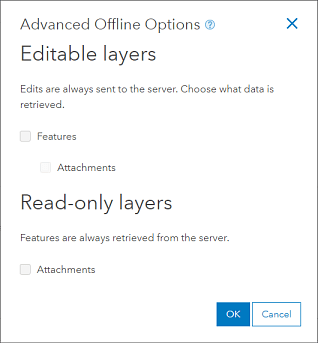 Advanced Offline Options set for upload only