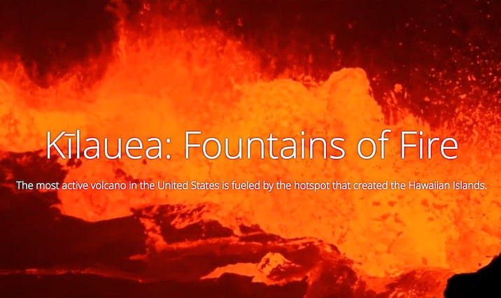A screenshot of the opening slide for 'Kilauea: Fountains of Fire'