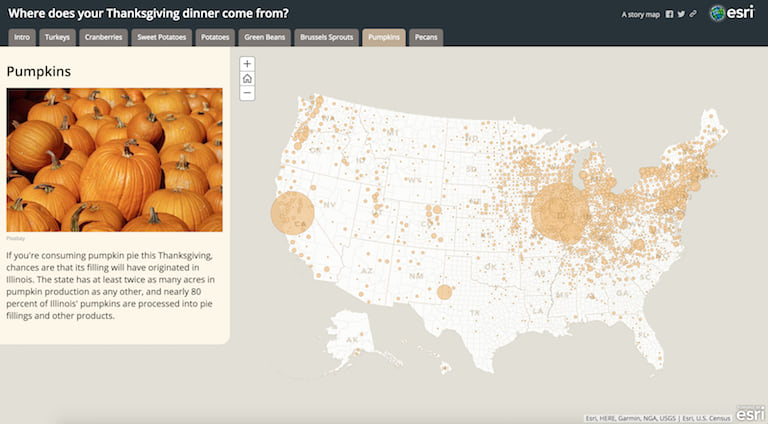 A screenshot of a story about where Thanksgiving staple foods are grown or raised in the US