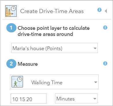 Create Drive-Time Areas settings