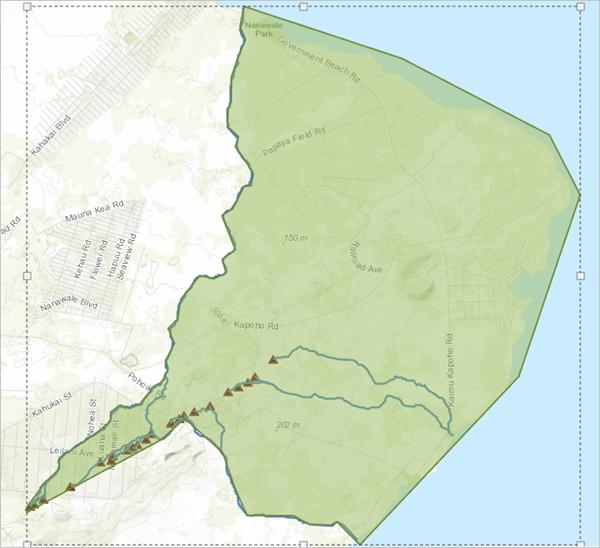 Hazard area for Kilauea fissures