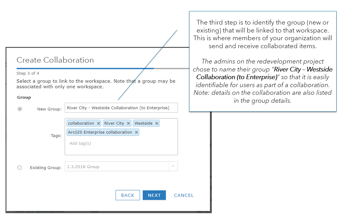 "Step 3 of collaboration: Select a group to link to the workspace. Note that a group may be associated with only one workspace. The selection was for new group: River City - Westside Collaboration (to Enterprise). Tags are collaboration, River City, Westside and ArcGIS Enterprise collaboration. The tooltip reads ""The third step is to identify the group (new or existing) that will be linked to that workspace. This is where members of your organization will send and receive collaborated items. The admins on the redevelopment project chose to name their group ""River City – Westside Collaboration (to Enterprise)"" so that it is easily identifiable for users as part of a collaboration. Note: details on the collaboration are also listed in the group details."""