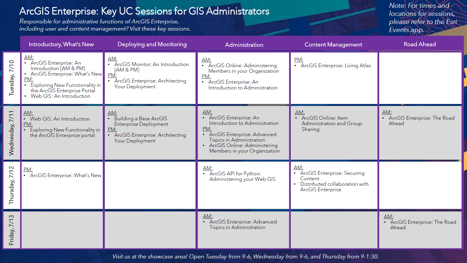 ArcGIS Enterprise sessions recommended for GIS Administrators. For the full pdf, visit the link included here in the blog.