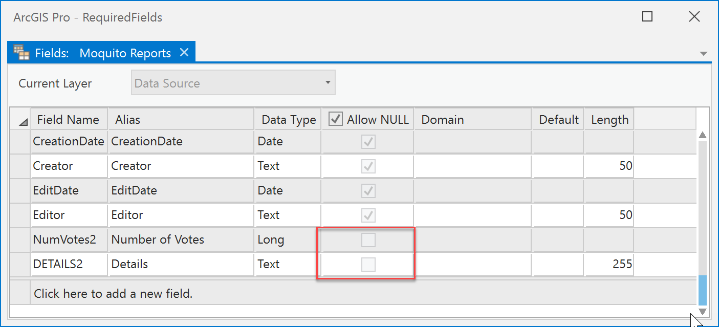 Non-nullable fields in ArcGIS Pro