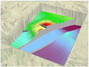 Figure 3: The output depth raster displayed in a 3D perspective view.  Note the steps created by the barriers.