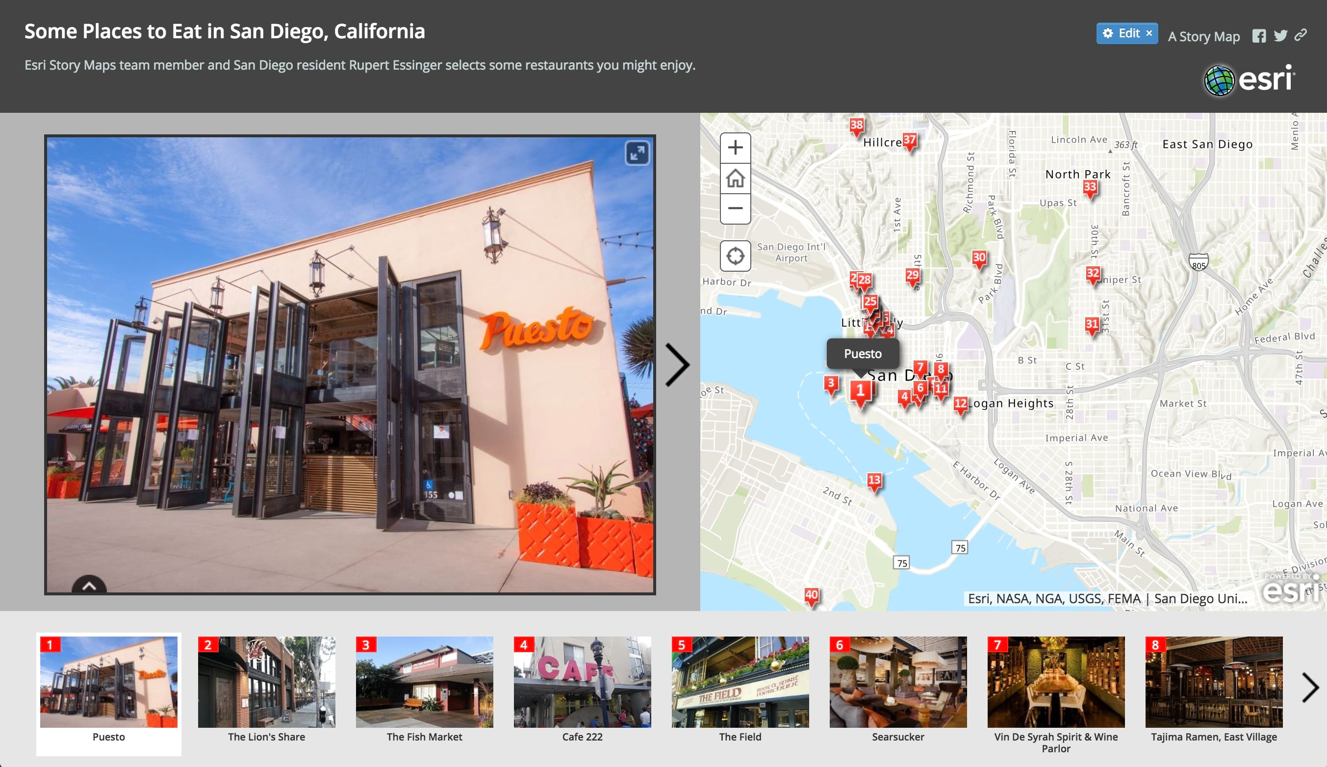 Some Places to Eat in San Diego story map
