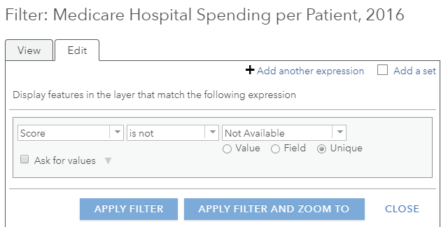 "Dropdown menus for filtering within the feature layer ""Medicare Hospital Spending per Patient, 2016."""