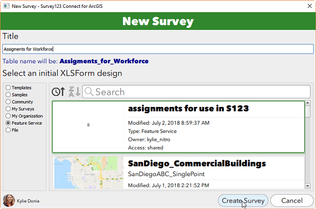 Create a new survey based on the assigments layer