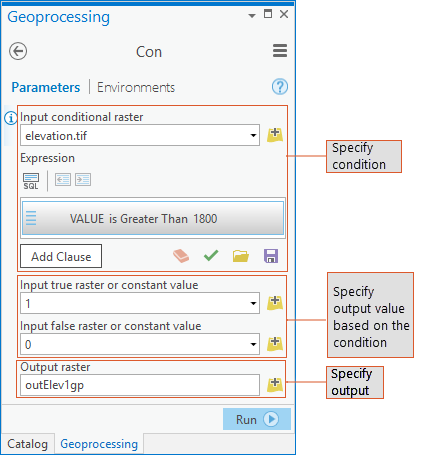 Figure 1: Geoprocessing Dialog box for the Con tool.