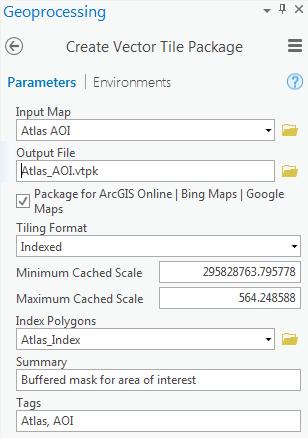 create vector tile package tool dialog