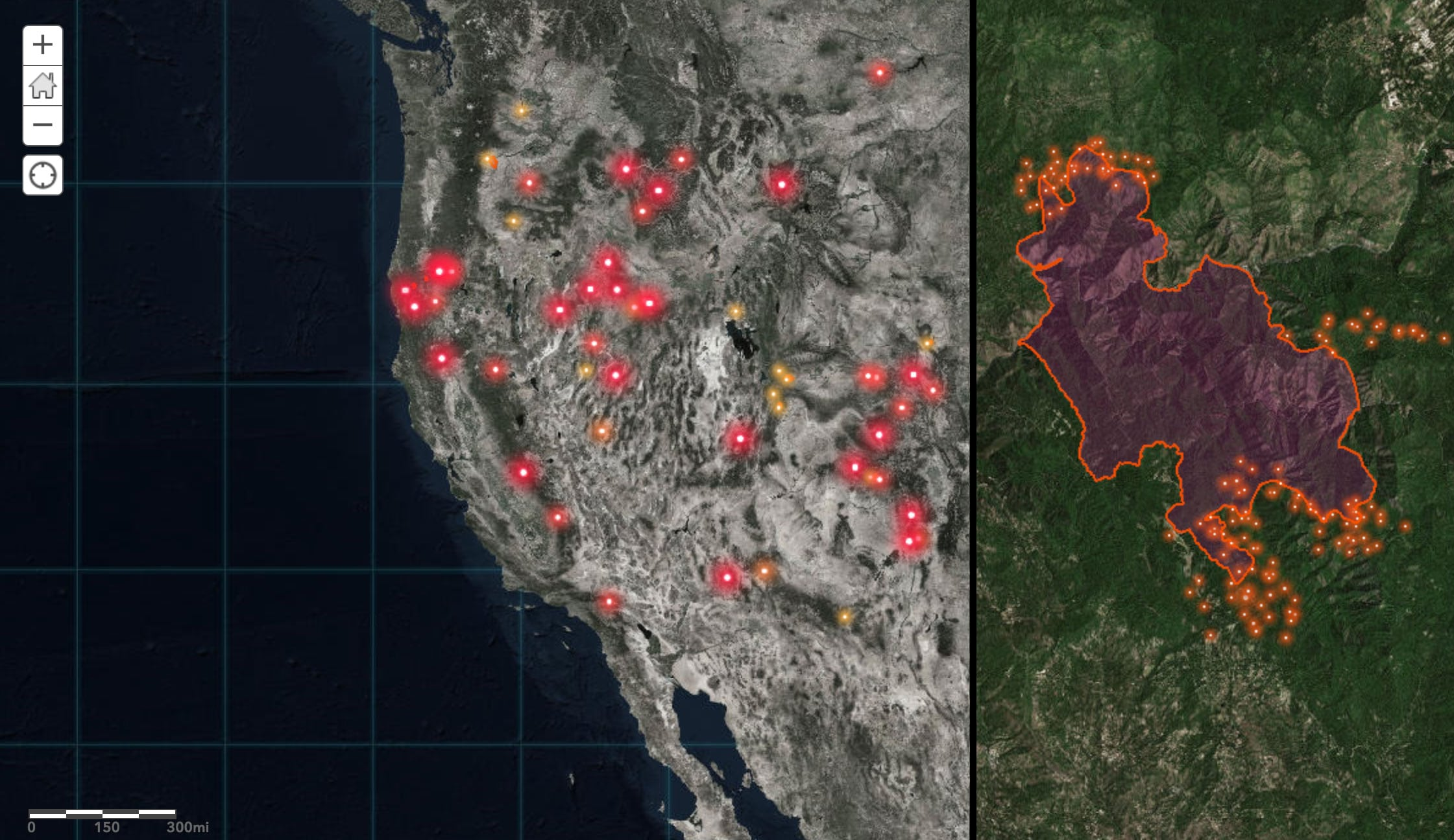US wildfire map using firefly
