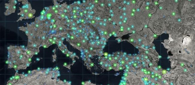 Glowing firefly symbology on dark imagery basemap