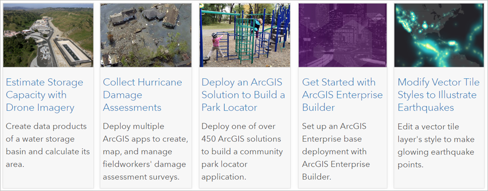 Follow these guided lessons to solve real problems while learning how to use ArcGIS.