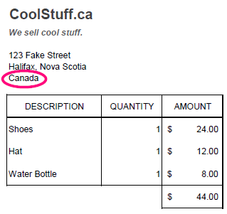 the receipt shows an address in Canada
