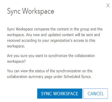 Sync Workspace confirmation dialog