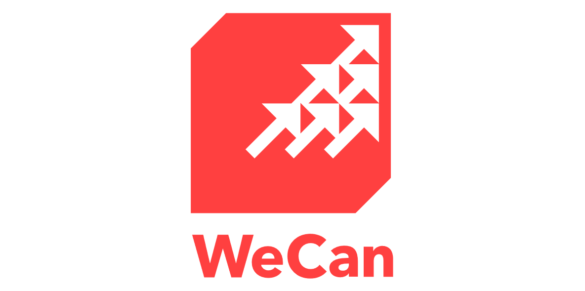 WeCan logo: Six white arrows point up & right in right triangle along right side against red square. Top left & lower right corners chamfered.