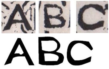 Comparison of woodcut letters and new font letters