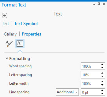 Text formatting properties