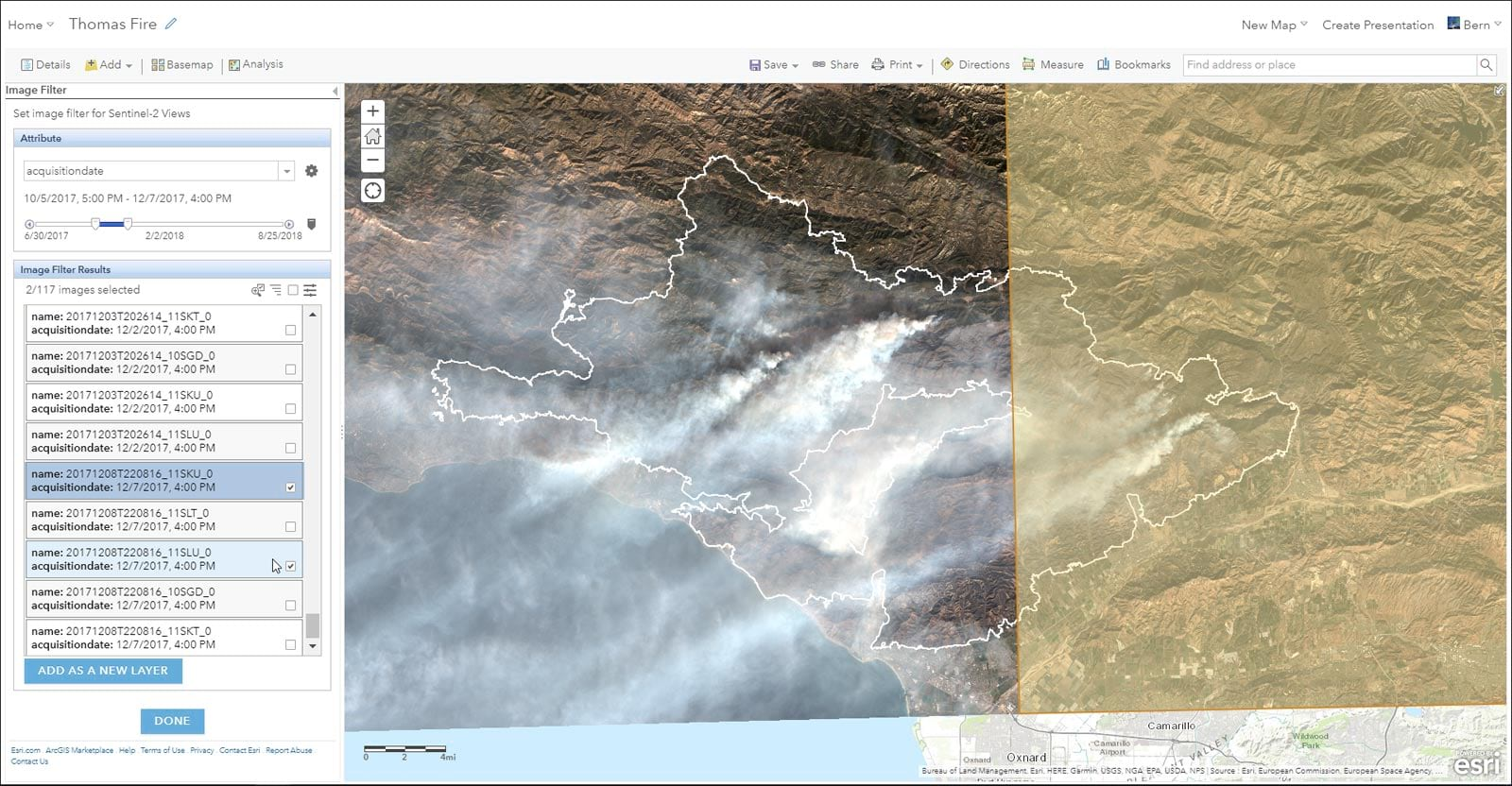 Learning About The Thomas Fire Using Arcgis Online And Living Atlas