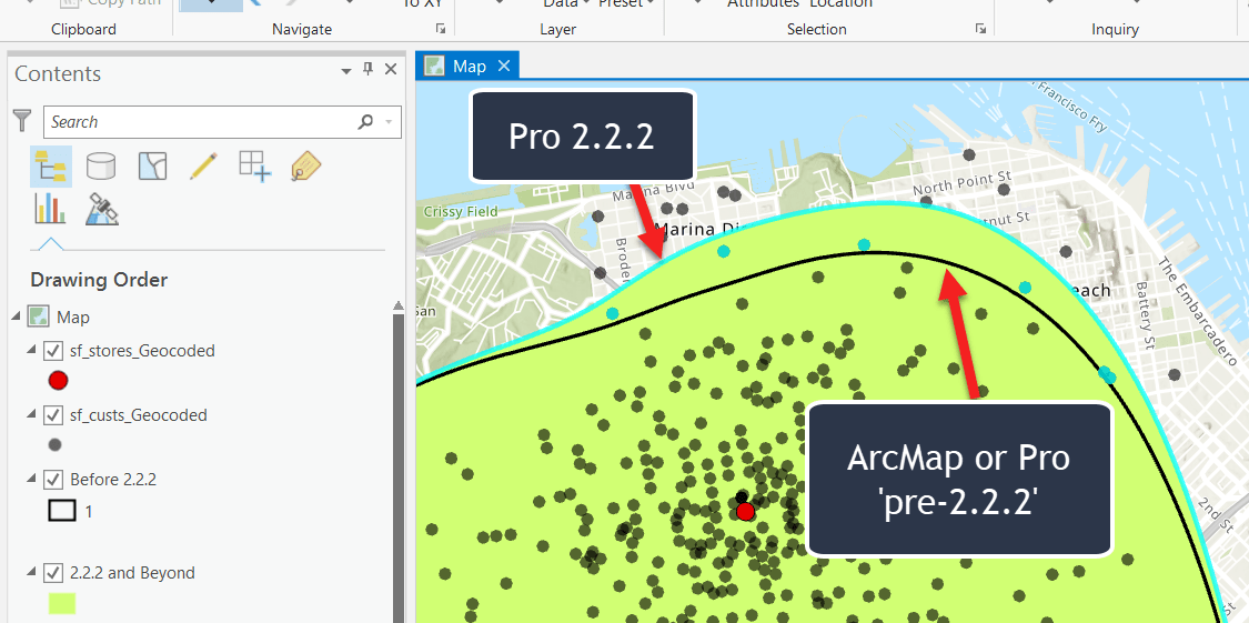 Derived trade area difference with Pro 2.2.2