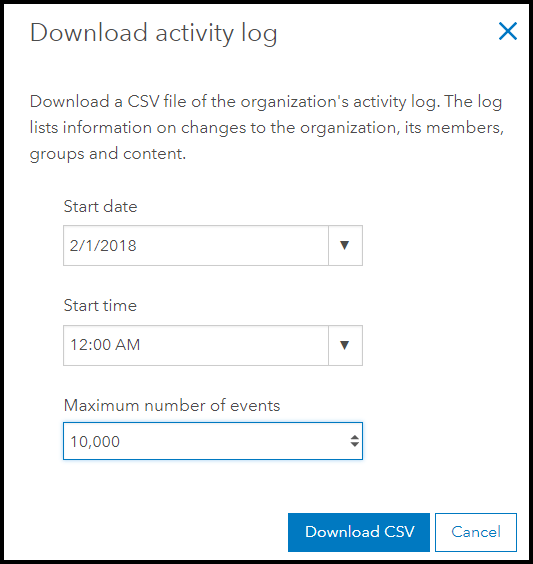 Activity Log download settings