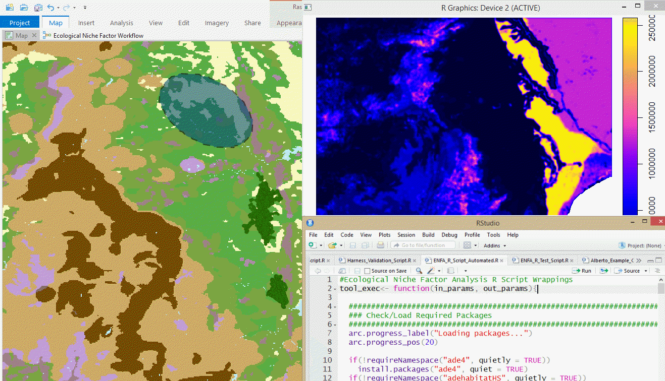 An image showing the combination of ArcGIS Pro with R.