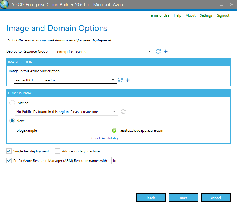The ArcGIS Enterprise Cloud Builder for Microsoft Azure wizard in action.