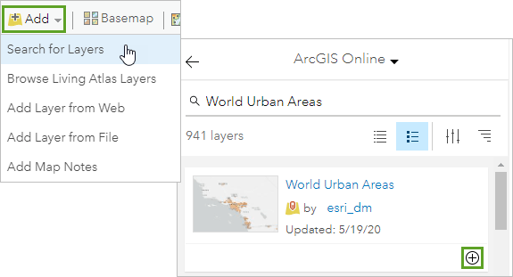 Search for and add World Urban Areas to your map
