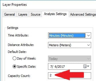 Shows the Capacity Count field in the Layer Properties page